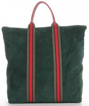 Vittoria Gotti Kožené Dámské Kabelky ShopperBag módní pruhy Lahvově Zelená