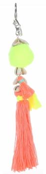 Přívěšek ke kabelce Fluorescenční střapec s mušličkami oranžová