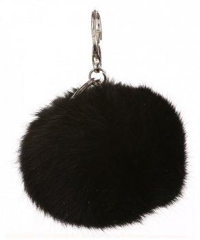 Přívěšek ke kabelce Pompon z přírodního vlasu černý