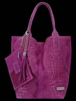 Italské Kožené Dámské Kabelky Shopper Bag Vittoria Gotti Fialová