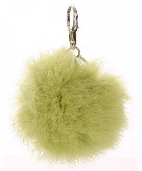 Přívěšek ke kabelce Pompon z přírodního vlasu zelený