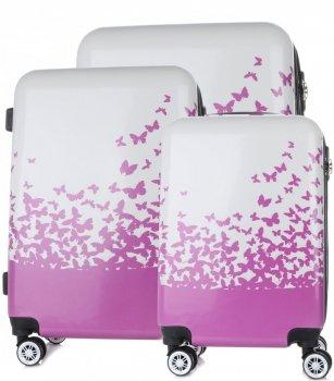 Kufry renomované firmy Snowball Sada 3v1 bílý a fialový