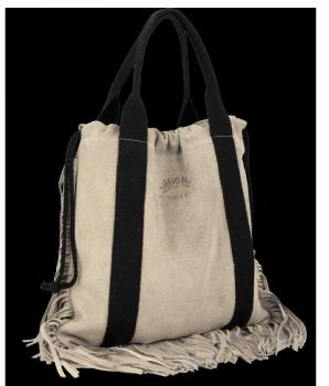 Vittoria Gotti Italské Kožené Dámské Kabelky Shopper Bag Boho Style Béžová