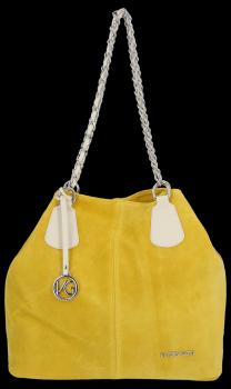 Vittoria Gotti Kožená Kabelka Shopper Made in Italy Žlutá