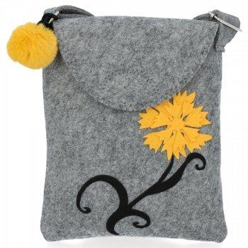Stylová Dámská Kabelka Plstěná Listonoška Bruno Rossi Yellow Flower Světle šedá