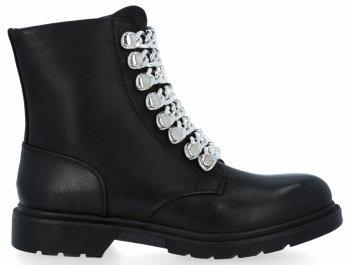 Černé/stříbrné módní kotníkové dámské boty Luna