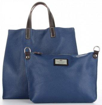 Univerzální Kožené Kabelky 2v1 ShopperBag a Listonoška Tmavě Modrá