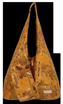 Módní Kožené Kabelky XL květinový motiv Vittoria Gotti Shopper s pouzdrem Zrzavá