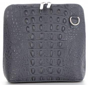Kožená Kabelka Listonoška Genuine Leather motiv aligátorů Šedá