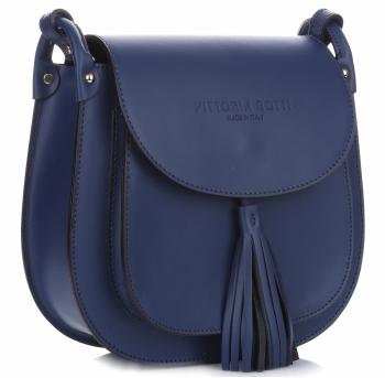 VITTORIA GOTTI Made in Italy Kožená kabelka listonoška Tmavě modrá