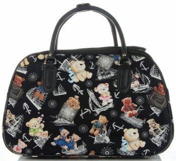 Velká cestovní taška kufřík Or&Mi medvědi Multicolor - černá
