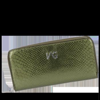 Luxusní Dámská Kožená Peněženka s motivem aligátora Vittoria Gotti Made in Italy Zelená