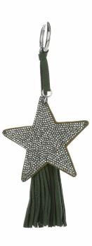 Dvoustranný Přívěšek ke kabelce Stars se zirkony a silným střapcem tmavě šedá