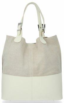 Kožená kabelka exkluzivní Shopper bag Světle Béžová