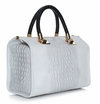 Elegantní kožený kufřík  s motivem Aligator světle šedý