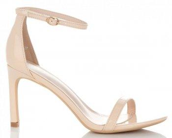 Modní Lakované Dámské Sandály na podpatku Ideal Shoes Béžové