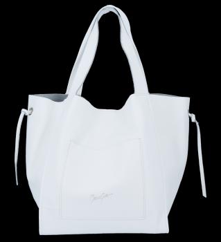 Vittoria Gotti Italské Kožené Dámské Kabelky Shopper Bag Bílá