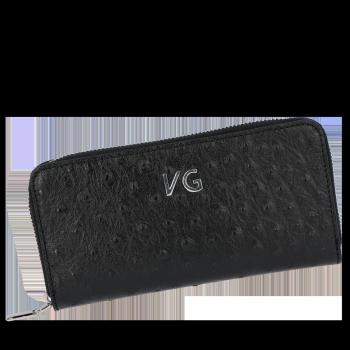 Dámská Kožená Peněženka pštrosí vzor Vittoria Gotti Made in Italy černá