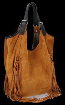 Módní Italské Kožené Dámské Kabelky Shopper Bag Boho Style Zrzavá
