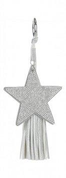 Dvoustranný Přívěšek ke kabelce Stars se zirkony a silným střapcem stříbrná