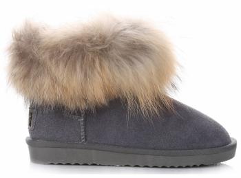 Kožené Dámské boty sněhule mýval/králík béžové