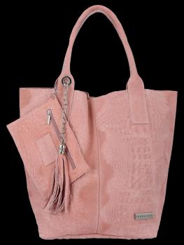 Italské Kožené Dámské Kabelky Shopper Bag Vittoria Gotti Růžová