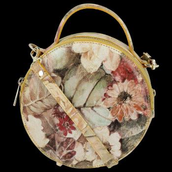 Kulatá Kožená Kabelka Listonoška s květinovým vzorem Vittoria Gotti Žlutá