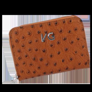 Dámská Kožená Peněženka pštrosí vzor Vittoria Gotti Made in Italy Zrzavá