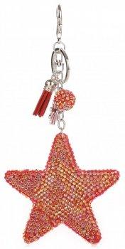 Přívěšek ke kabelce Hvězdička s křišťálky Super Star červená