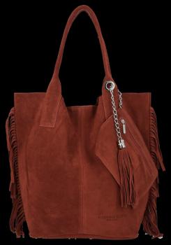 Módní Italské Kožené Kabelky Shopper Bag Boho Style Vittoria Gotti Hnědá