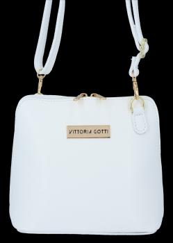 Malá Kožená Kabelka Elegantní Listonoška Vittoria Gotti Bílá