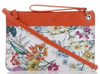 Kabelky Listonošky květinový vzor David Jones Oranžová