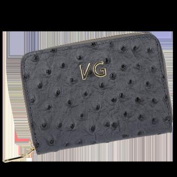 Dámská Kožená Peněženka pštrosí vzor Vittoria Gotti Made in Italy Šedá