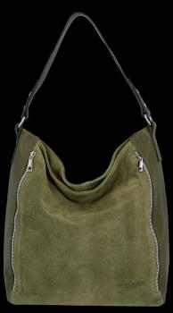 Kožené Dámské Kabelky XL Vittoria Gotti Zelená