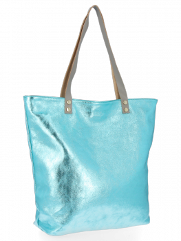 Módní Kožené Dámské Kabelky Shopper Bag Vittoria Gotti Tyrkysová