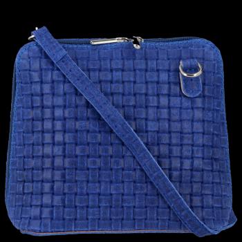 Malé kožené kabelky listonošky Genuine Leather Kobaltová