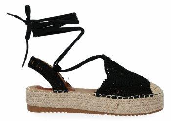 Černé sandály espadrilky na platformě Bellicy