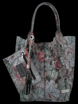 Módní Kožené Dámské Kabelky Shopper Bag s květinovým vzorem Vittoria Gotti Černá