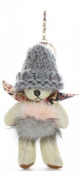 Přívěšek ke kabelce Medvídek ve vlněné čepici s přírodním mývalem béžový