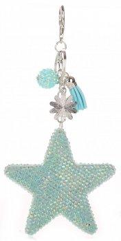 Přívěšek ke kabelce Hvězdička s křišťálky Super Star světle modrá