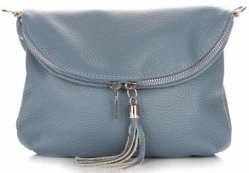 Dámská kožená kabelka listonoška Světle Modrá