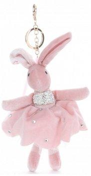 Přívěšek ke kabelce Sametový králík v sukýnce růžový