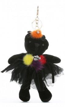 Přívěšek ke kabelce Sametový medvídek v sukýnce černý barevné