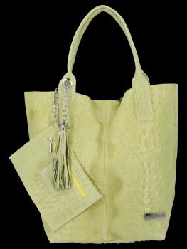 Italské Kožené Dámské Kabelky Shopper Bag Vittoria Gotti Limetková
