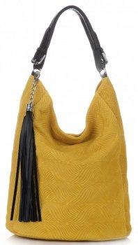 Univerzální kožená italská kabelka žlutá