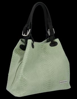 Univerzální kožená italská kabelka Vittoria Gotti Světle Zelená