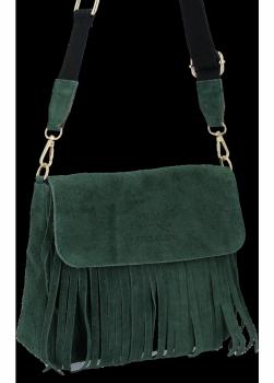 Módní Kožená Kabelka Listonoška Boho Vittoria Gotti Lahvově Zelená