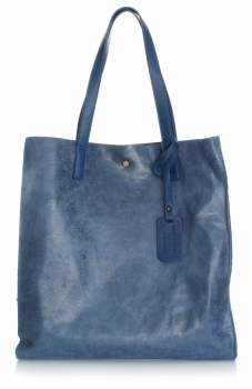 Kožená kabelka Shopper Bags kosmetickou kapsičkou modrá