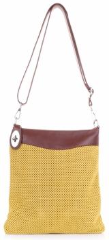 Módní Kožená ažurová kabelka listonoška Žlutá