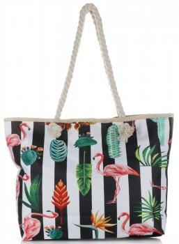 Plážová dámská kabelka Černobílá
